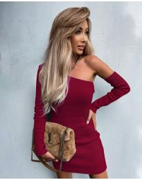 Елегантна рокля в цвят бордо - код 4933