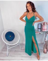 Зелена дълга рокля с цепка - код 600