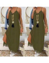 Дълга рокля с дантела в масленозелено - код 2575