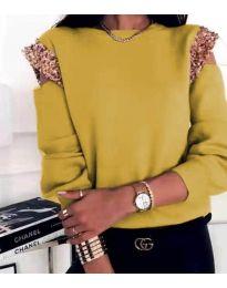 Атрактивна дамска блуза в цвят горчица - код 1539