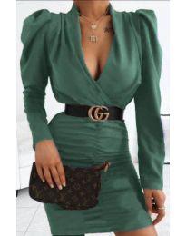 Стилна рокля в тъмно зелено - код 953