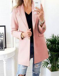 Дамско палто в цвят пудра - код 4679