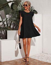 Къса дамска рокля в черно - код 6261