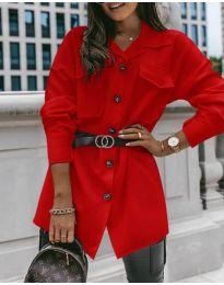 Дамска риза с колан в червено - код 4848