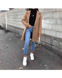 Дълго дамско палто в кафяво - код 950
