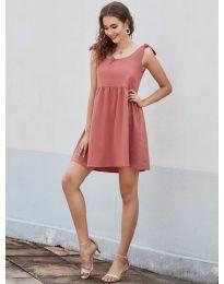 Изчистена рокля в цвят праскова - код 2255