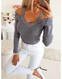 Дамска блуза с ефектно деколте в сиво - код 3488