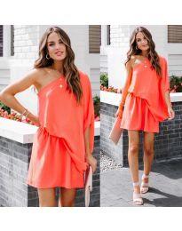 Ефирна дамска рокля в цвят корал - код 9933