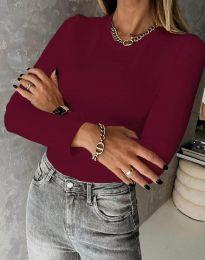 Изчистена дамска блуза в цвят бордо - код 4863