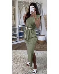 Дълга дамска рокля в маслено зелено - код 7049