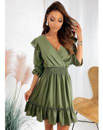 Свободна дамска рокля в маслено зелено - код 8554