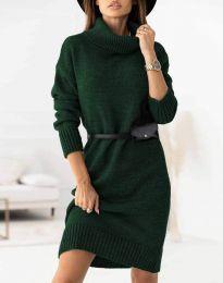 Дамска рокля  в зелено - код 0393