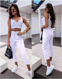 Спортно - елегантен панталон в бяло - код 8585