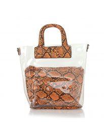 Дамска чанта със змийски десен в оранжево - код DD-570