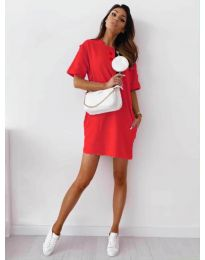 Изчистена рокля с джобове в червено - код 7236