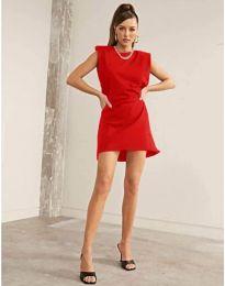 Свободна къса дамска рокля в червено - код 625