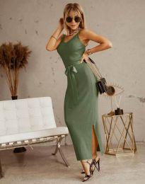 Дълга дамска рокля в масленозелено с панделка - код 6166