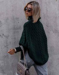 Дамски пуловер в тъмнозелено - код 24831