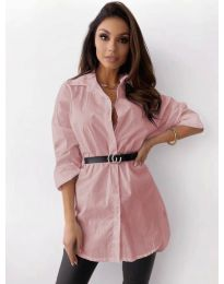 Дамска риза в цвят пудра - код 5459