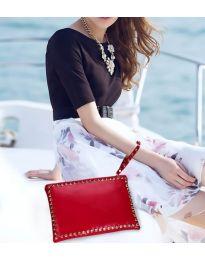 Дамска чанта в червено с капси тип клъч - код B8