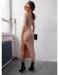 Дамска рокля в цвят праскова с цепка - код 12070