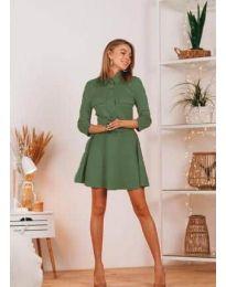 Свободна дамска рокля в маслено зелено - код 6619