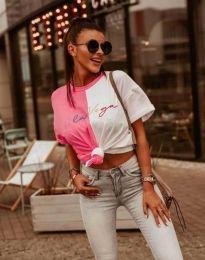 Атрактивна дамска тениска с надпис - код 0563 - 1