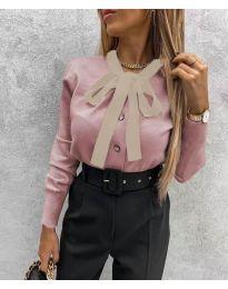 Кокетна дамска риза в цвят пудра - код 3737