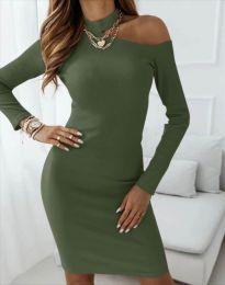 Атрактивна дамска рокля в масленозелено - код 4859