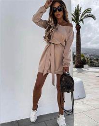 Дамска рокля в бежово - код 2409