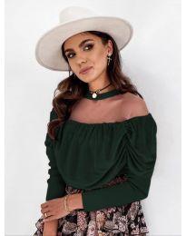 Елегантна блуза в тъмно зелено - код 1812