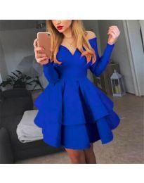 Атрактивна синя рокля с ефектно деколте - код 228