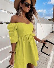 Дамска рокля с голи рамене в жълто - код 7413