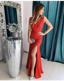 Дълга рокля с цепка в червено - код 1419