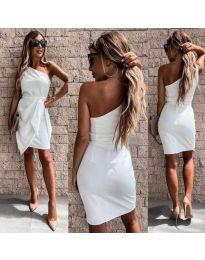 Асиметрична рокля с колан в бяло - код 2457