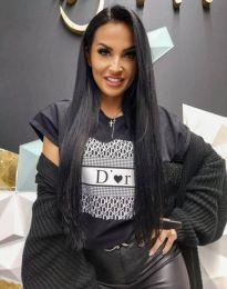 Дамска тениска в черен цвят с ефектен принт - код 904