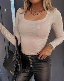 Стилна дамска блуза в бежово - код 6342