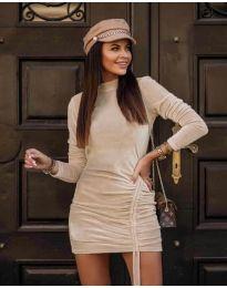 Дамска рокля в цвят шампанско - код 9545