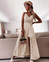 Дамска рокля с дантела в цвят шампанско - код 2704
