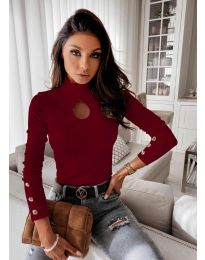 Дамска блуза с поло яка в бордо - код 9917