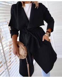 Свободно палто в черно - код 8778