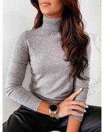 Дамска блуза с поло яка  в сиво - код 8861