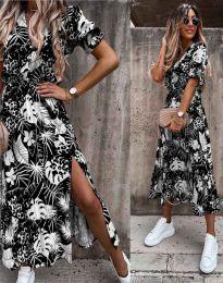 Дълга рокля в черно с флорален десен - код 6212