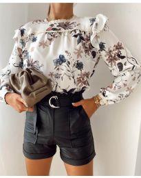 Дамска риза с флорален десен - код 7703 -3