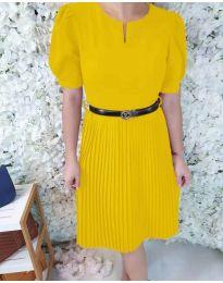 Елегантна рокля с плисирана долна част в  жълто - код 808