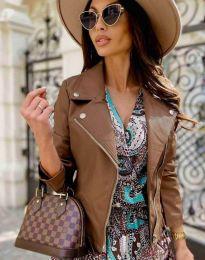 Елегантно дамско яке в кафяво - код 6354