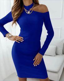Атрактивна дамска рокля в синьо - код 4859