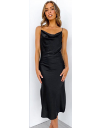 Изчистена рокля в черно - код 7161