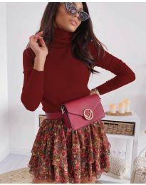 Дамска блуза с поло яка в бордо  - код 8861