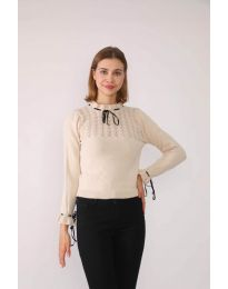 Атрактивна дамска блуза в бежово - код 6631